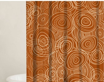 Orange shower curtain | Etsy
