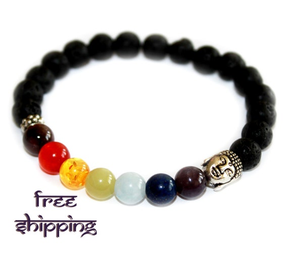 Chakras Bracelet with Black Volcanic Lava Bracelet,  Yoga Jewelry - Free Shipping