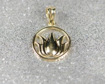 Solid 14k Gold Lotus Circle Pendant