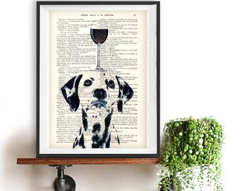 Dalmatian Print, dalmatian with wine glass, French design, black and white, dalmatian poster Art Print on recycled french book page