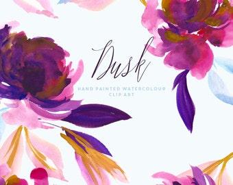 Watercolour Flower Clipart - Dusk