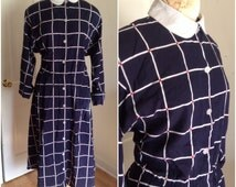1980s Blue Checked Shirt Dress // plus size 2x 16 18 20 miss frizzle