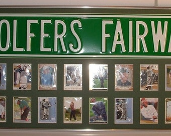 PGA Golfers Fairway Street Sign & card collage..Custom Framed!!!
