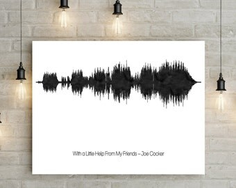 Soundwave art print - music gifts - song lyrics soundwave art - music lyrics print - gift for music lover - first dance print - soundwave