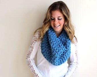 Knit Scarf Cowl Chunky Sky Blue- Anacostia Cowl