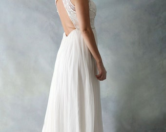 Bohemian Style Silk Wedding Bridal Dress with Open Back and Hand-Beaded Bling Details - AM90100021