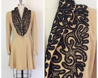 40s Beaded Wool Dress Coat / 1940s Vintage Fall Winter Jacket / Large / Size 10