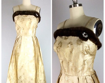 50s Gold Brocade Wiggle Dress - 1950s Vintage  Metallic Fur Trimmed Rhinestone Party Dress - Medium - Size 8