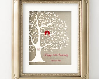 40th Anniversary Gift Golden Anniversary Print Gift Personalized Print / Canvas Keepsake Gift for Parents Family Tree Red Birds Love