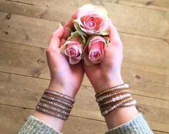 Crystal Wrap Bracelet, Brown Leather wrap bracelet, brown leather bracelet, crystal bracelet, brown wrap bracelet, 18K White gold