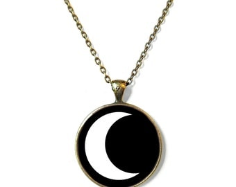 Black Grunge Crescent Moon Necklace, Feminist Soft Grunge Nu Pastel Goth C*nt Jewelry Rude Mean Insult Girl Power Jewelry