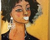 Original 16x20 Modern African American pOp portrait painting Natural Hair ArT on Canvas
