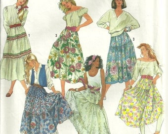 Simplicity 9737 Tiered Flounced Skirt Pattern Peasant, Country Western, Romantic, Boho Size 6-14 UNCUT
