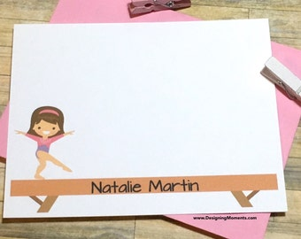 Gymnastics Note Cards - Gymnast Stationery - Girls Stationery - Girls Thank You Cards - Personalized Cards - Balance Beam and Gymnast