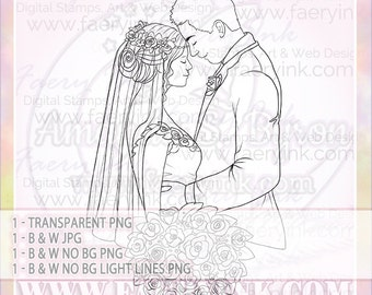 Wedding Bliss Couple Love UNCOLORED Digital Stamp Image Adult Coloring Page jpeg png jpg Fantasy Craft Fae Cardmaking Papercrafting DIY