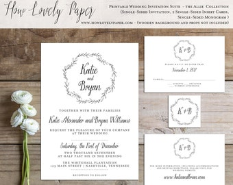 Printable Wedding Invitation Suite - the Allie Collection