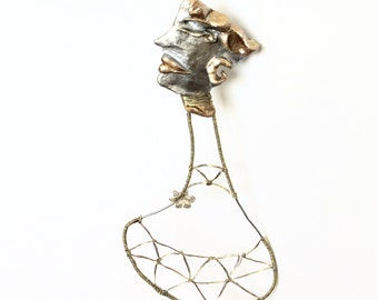 Boho women Polymer Clay, metal wire sculpture OOAK / Abstract / Modern Art