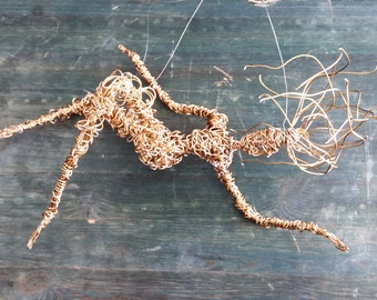 Wire sculpture. Free Falling Figurine OOAK / Energetic sculpture / Sport