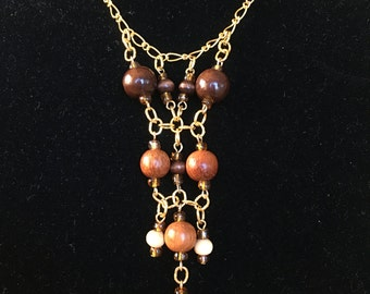 Necklace. Wood Brown Earth tones Charm Necklace on Gold Chain. 20 inches.
