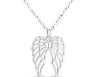 Pair of Angel Wings Charm Pendant Necklace #925 Sterling Silver #Azaggi N0874S