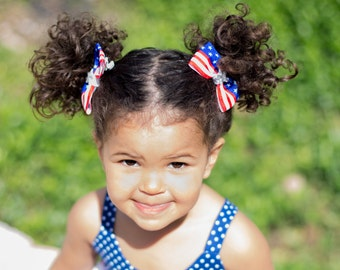 Fourth Of July Bows, Fourth Of July Pigtail Bows, Red White and Blue Bows, Patriotic Bows, 4th of July Bows, Pigtail Hair Bows, Flag Bows