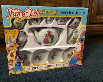 Fairy Tale Classics Tea Set by Sky Kids 1992 Mint in Box