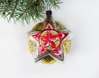 Vintage Christmas star ornament Made of glass Soviet star Communism Propaganda christmas  decoration Bubble with Red star Soviet bulb 1940s