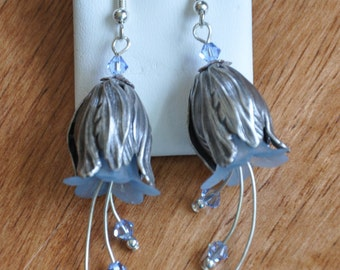 Earrings- Light Blue Tulip dangle flower beautiful unique gift- soft- lucite flowers- silver leaf findings- crystal - sparkle- unique gift