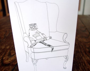 Lazy Cat Card - funny cat card - greeting card - hand drawn - card for all occasions