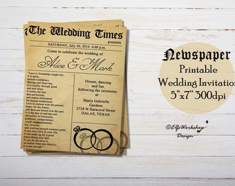 Wedding invitation newspaper - Newspaper wedding invitation -  Printable Invitation New York Times -  Printable newspaper invitation