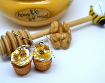 Honey cupcake earrings,Honey syrup cupcake earrings,Honey&Walnuts cupcake earrings,Miniature food jewelry,Food jewelry,Polymer clay jewelry