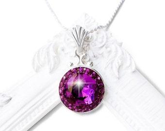 Amethyst Purple Swarovski Crystal Necklace, Sterling Silver Purple Swarovski Crystal Necklace Plum Purple Bridal Bridesmaid Pendant Necklace