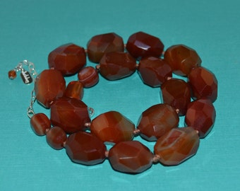 Faceted Chunky Carnelian Stone Necklace, Sterling Silver