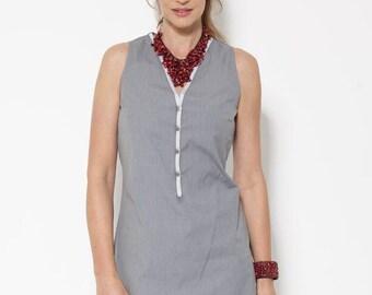 ON SALE, Grey Dress, Midi Dress, Feminine Clothing, Summer Dresses for Women, V neck Dress, Designer Dress, Sleeveless Dress, Grey Dress