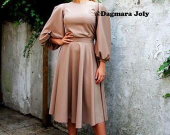 Brown full circle skirt, midi brown skirt, below knee skirt, calf length skirt,