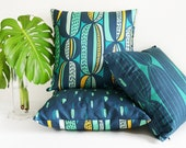 Mid-century modern throw pillow in navy, teal & mint • original cactus-inspired textile