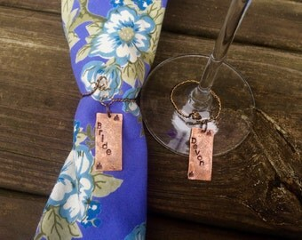 Personalized Wine Charms.Napkin Rings.Bridal Party Wedding Shower Gift.Friends.Set The Table.Place Setting.Wedding Gift Registry.Bride Gift