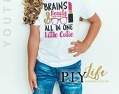 Child T-Shirt | Brains and Beauty All in ONE Little Toddler or  Youth T-Shirt DTG Printing on Demand