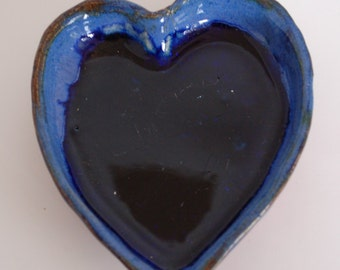 Small Heart Bowl Caribbean Blue and Red Hand Built Pottery (#HB20)
