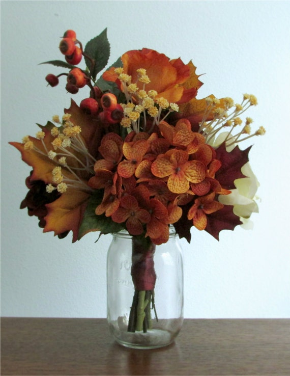 Fall silk flower centerpiece bouquet hydrangea by posiespearls