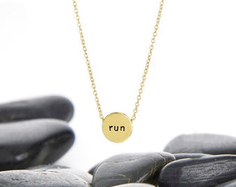 Run Sliding Charm Necklace in Brass and Gold Fill