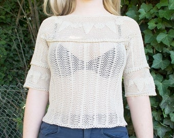 Tan Handmade Vintage Half Sleeved Crochet Blouse with Triangle Shapes - Women's Medium