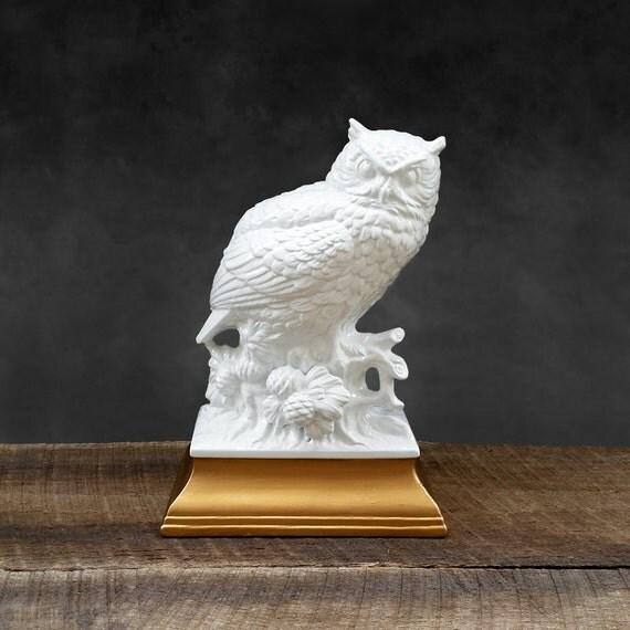 White Owl Figurine Gold Base Ceramic Chic Modern Decor
