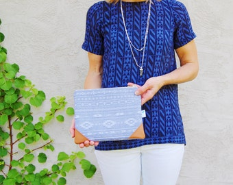 Chambray Clutch Purse, Denim Leather Clutch, Zippered Pouch, Blue Tribal Print Bag, Small Leather Clutch, Everyday Clutch, Aztec Clutch