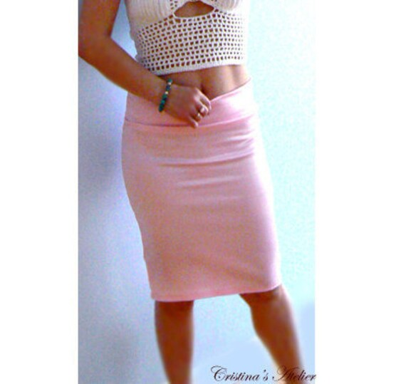 Pink satin low rise pencil skirt. Women fitted skirt. Shiny pink sexy pencil skirt. Stretch satin skirt. Occasion, party satin skirt