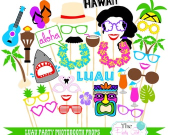 33 pc* Luau Party Photobooth Props/Hawaiian Party, Surf Party, Summer Party/ Aloha Props  - DIGITL FILE