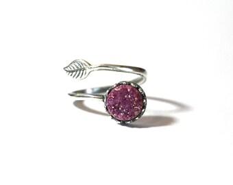 Adjustable Boho Feather Ring, 8mjm Round Druzy Ring, Sterling Silver Adjustable Druzy Ring, Statement ring, Druzy Adjustable Ring, Midi Ring