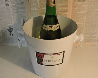 Champagne Ice  Bucket - Vintage Ice Bucket/Cooler - French Advertising - Anniversary Wedding Party Gift- French Bistro Decor - Kitchenalia