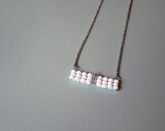 Necklace chain pendant woven white minimalist - the case of the minettes