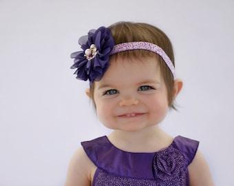 Purple Baby Headband, Purple Flower Headband, Lavender Headband, Newborn Photo Prop, Baby Shower Gift, Adult Headband, Teen Headaband, Kids